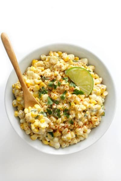 creamy and cheesy Mexican-inspired street corn salad grilled elotes from strengthandsunshine