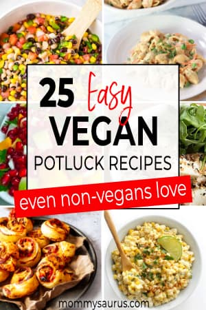 collage of vegan potluck recipes pin