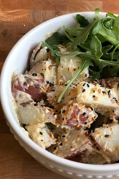 easy potluck everything bagel potato salad by dancingintherain